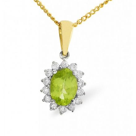 9K Gold 0.21ct Diamond & 7mm x 5mm Peridot Pendant, E2620